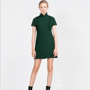 NWT Zara Ruffled Green Dress- Sz L
